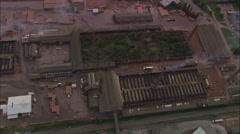 AERIAL United Kingdom-Stewartby Brick Works Near Bedford Stock Footage