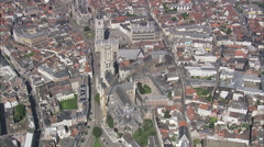 AERIAL Belgium-Saint Bavo Cathedral Stock Footage