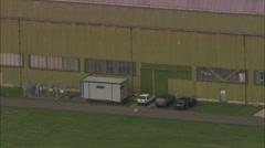 AERIAL United Kingdom-Cardington Hangars Stock Footage