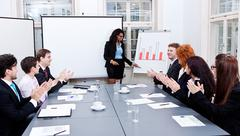 business conference presentation with team training - stock photo