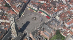 AERIAL Belgium-Market Square & Belfry Stock Footage