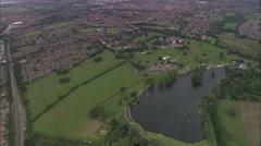 AERIAL United Kingdom-Wicksteed Park, Kettering Stock Footage