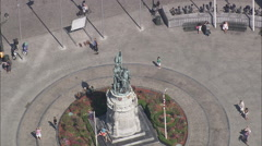 AERIAL Belgium-Market Square & Belfry - stock footage