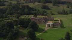 AERIAL United Kingdom-Rockingham Castle Stock Footage