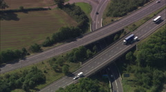 AERIAL United Kingdom-M1 And M6 Junction Stock Footage