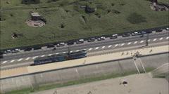 AERIAL Belgium-Coastal Tram Stock Footage