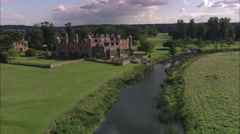AERIAL United Kingdom-Charlecote House - stock footage