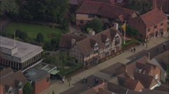 AERIAL United Kingdom-Shakespeare's Birth Place Stock Footage
