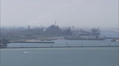 AERIAL France-Dunkirk Oil Refinery Stock Footage