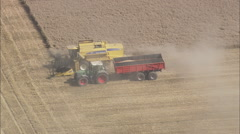 AERIAL France-Farm Vehicles At Work Stock Footage