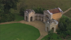 AERIAL United Kingdom-Stowe And Park Buildings Stock Footage
