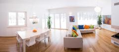 Light interior with color decors Stock Photos