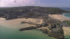 AERIAL United Kingdom-St Ives Bay Stock Footage