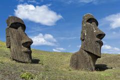 Moais in Rano Raraku Rapa Nui National Park Unesco World Heritage Site Easter - stock photo
