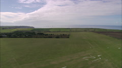 AERIAL United Kingdom-Land's End Airport And Whitesand Bay Stock Footage