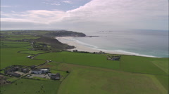 AERIAL United Kingdom-Longships Lighthouse And Land's End Stock Footage