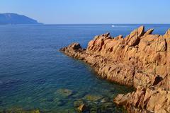 The red rocks of Arbatax porphyry rocks Tortoli Province of Ogliastra Sardinia Stock Photos