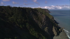AERIAL United Kingdom-North Devon Coast Stock Footage