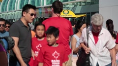 Canada day, Vancouver, crowd of people walking Stock Footage