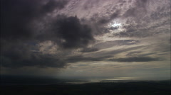 AERIAL United Kingdom-Dark Clouds Over Bideford Bay Stock Footage
