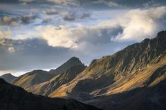 Mountain chain of the Sellrainer Alps in the evening light Sellraintal North - stock photo