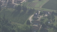 AERIAL France-Mansion By Lake Stock Footage