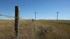 Prairie fence beside road. Alberta, Canada. Stock Footage