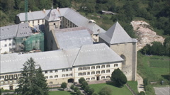 AERIAL Spain-Abbey Of Roncesvalles Stock Footage