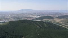 AERIAL Spain-Approaching Pamplona Stock Footage