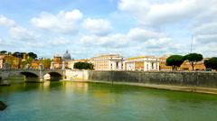 Panoramic view of the river Tiber - stock footage