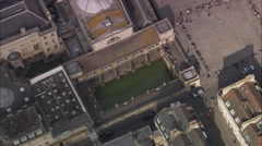 AERIAL United Kingdom-Bath And Roman Baths And Abbey Stock Footage