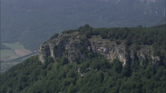 AERIAL Spain-Long Escarpment In Urbasa Y Andia Natural Park Stock Footage