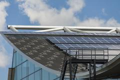 Photovoltaic solar panels on a roof Stock Photos