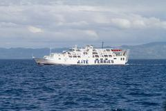 Editorial - Lite Ferry in front of Bohol Island, Philippines - stock photo