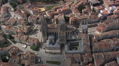 AERIAL Spain-Burgos Cathedral Stock Footage