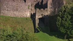AERIAL United Kingdom-Restormel Castle Stock Footage