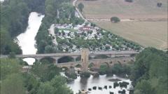 AERIAL Spain-Frias Medieval Bridge Stock Footage