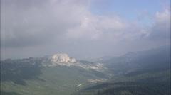 AERIAL Spain-Escarpment Overlooking Anguio Stock Footage
