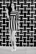 stripes in black and white - stock photo