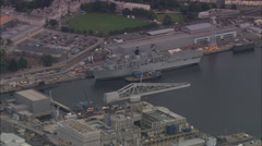AERIAL United Kingdom-Devenport Dockyard Stock Footage