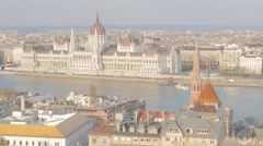 Capital of Hungary city of Budapest and parliament building by the day 4K 384 Stock Footage