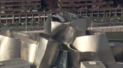 AERIAL Spain-Guggenheim Museum Bilboa Stock Footage