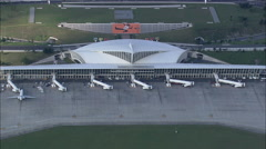 AERIAL Spain-Passing Over Bilboa Airport Stock Footage