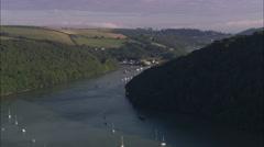 AERIAL United Kingdom-River Dart - stock footage