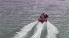 AERIAL United Kingdom-Water Skiing On River Teign Stock Footage