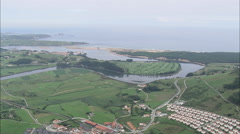 AERIAL Spain-Coastline, Landscape, Towns And Industry Stock Footage