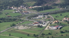 AERIAL Spain-Passing Over The A8 Motorway Stock Footage