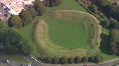 AERIAL United Kingdom-Dorchester Roman Arena Stock Footage