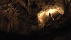 A Section of a Deep Cave Lighted Up Stock Footage
