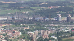 AERIAL Spain-Aviles Steel Works Stock Footage